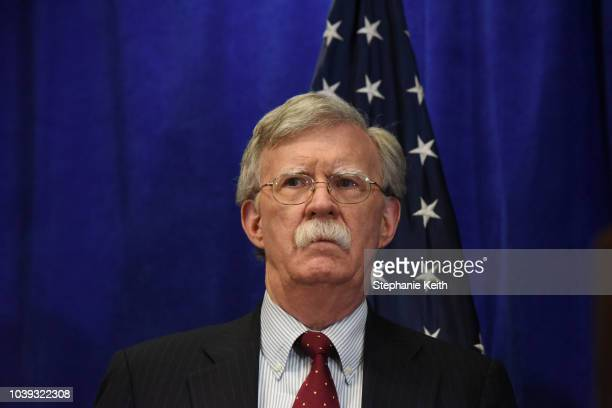 Secretary Of State Mike Pompeo National Security Adviser John Bolton and United States Ambassador to the United Nations Nikki Haley brief the media...