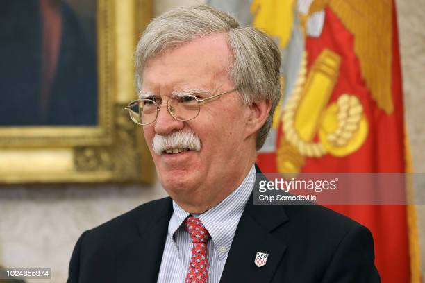 S National Security Advisor John Bolton attends a meeting between President Donald Trump and FIFA and US Soccer officials in the Oval Office at the...