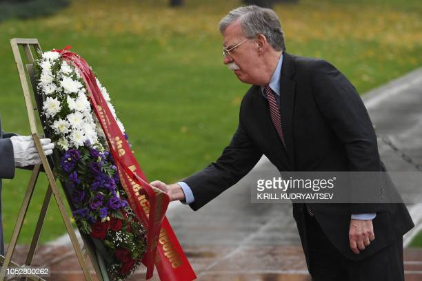 US National Security Advisor John Bolton attends a wreath laying ceremony at the Tomb of the Unknown Soldier by the Kremlin wall in downtown Moscow...