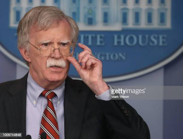 National Security Advisor John Bolton briefs the media on election interference at the White House on August 2 2018 in Washington DC The...