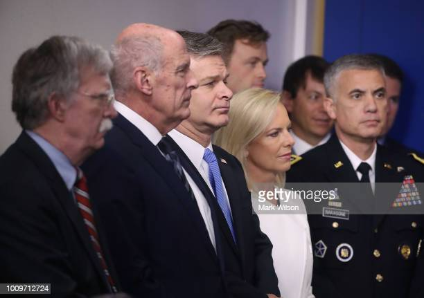US National Security Advisor John Bolton Director of National Intelligence Dan Coats FBI Director Christopher Wray Secretary of Homeland Security is...