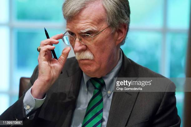S National Security Advisor John Bolton joins President Donald Trump and NATO Secretary General Jens Stoltenberg during a bilateral meeting in the...