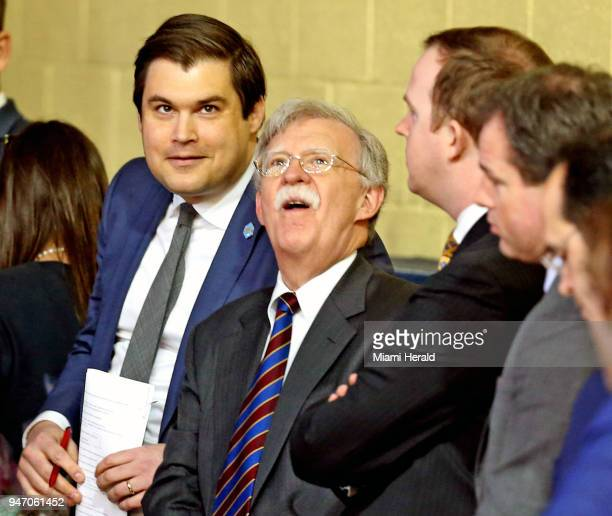 National Security Advisor John Bolton listens as US President Donald Trump talks at a Roundtable Discussion on Tax Reform on Monday April 16 2018 at...