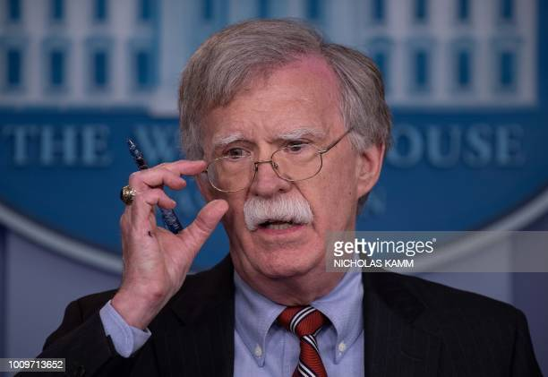 US National Security Advisor John Bolton speaks at the press briefing at the White House in Washington DC on August 2 2018 The US government on...