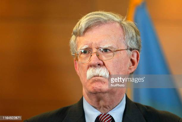 National Security Advisor John Bolton speaks during his a press-conference in Kiev, Ukraine, on 28 August 2019. National Security Advisor of the US...