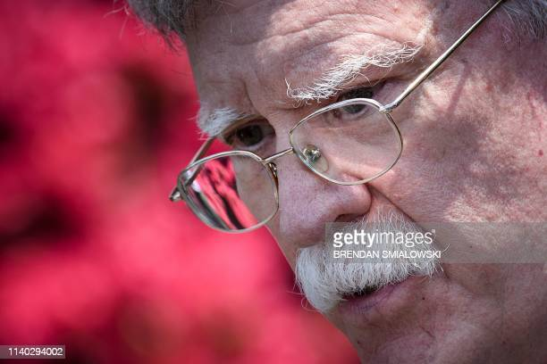 US National Security Advisor John Bolton speaks to reporters about Venezuela outside the West Wing of the White House April 30 in Washington DC