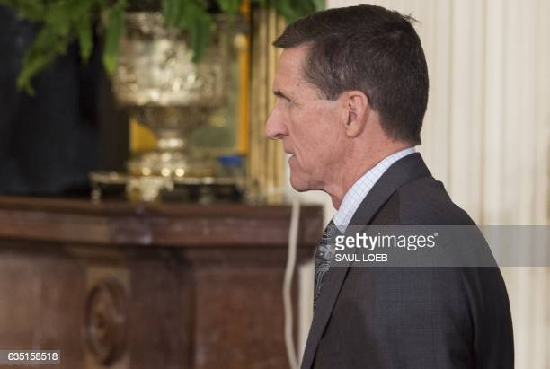 National Security Advisor Michael Flynn arrives for a press conference between US President Donald Trump and Canadian Prime Minister Justin Trudeau...