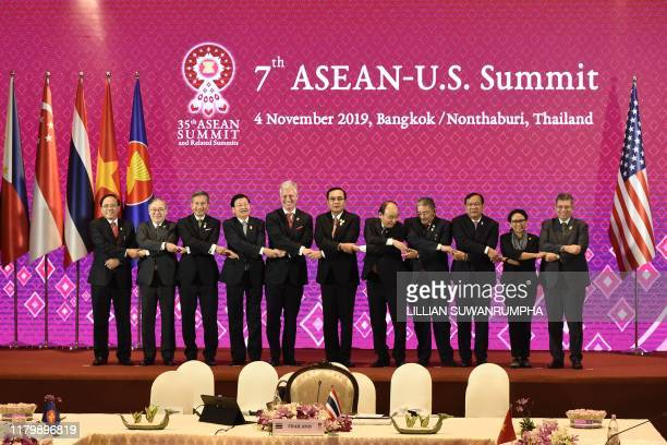 US National Security advisor Robert O'Brien poses with leaders and ministers during the 7th ASEANUS Summit in Bangkok on November 4 on the sidelines...