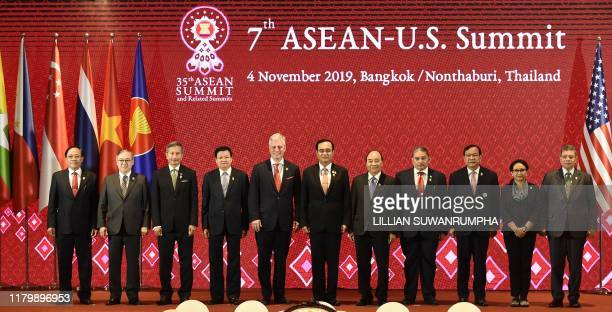 US National Security advisor Robert O'Brien poses with various leaders and ministers during the 7th ASEANUS Summit in Bangkok on November 4 on the...