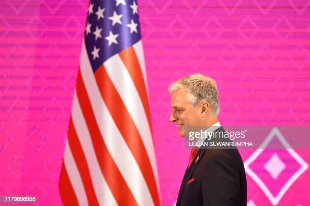 US National Security advisor Robert O'Brien walks onstage during the 7th ASEANUS Summit in Bangkok on November 4 on the sidelines of the 35th...