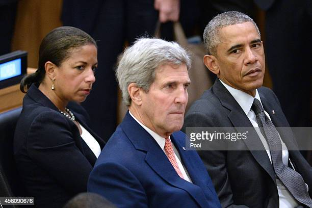 National Security Advisor Susan E. Rice, U.S. Secretary of State John Kerry and U.S. President Barack Obama sit before Obama gives remarks at a...