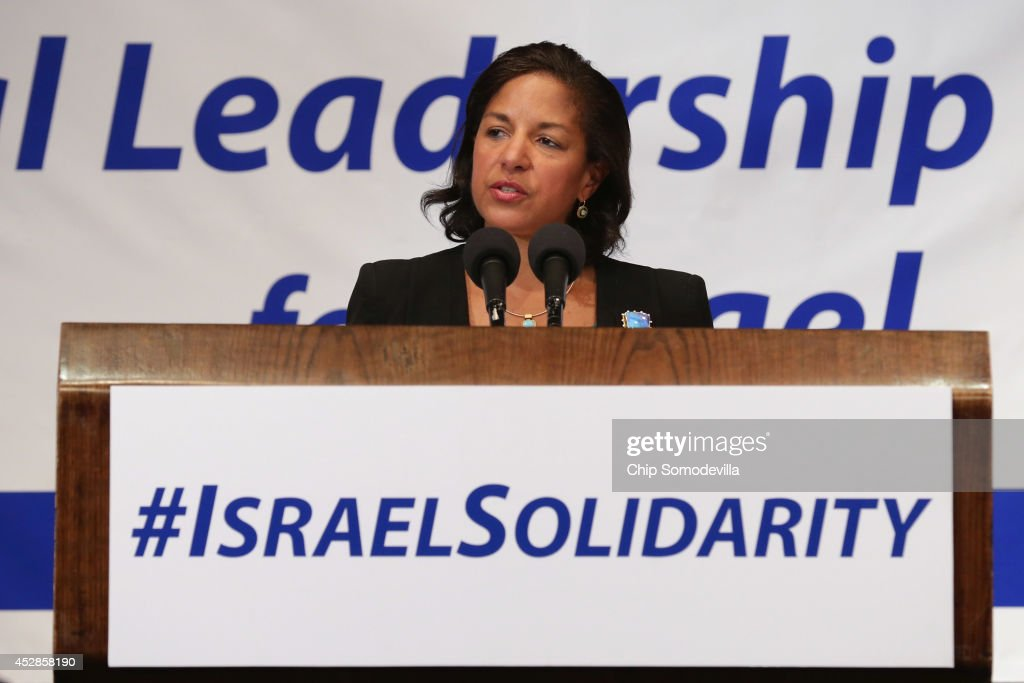U.S. National Security Advisor Susan Rice addresses Jewish organizational and community leaders during the 'National Leadership Assembly for Israel' at the National Press Club July 28, 2014 in Washington, DC. Organized by the Conference of Presidents of Major American Jewish Organizations, the event was addressed by Obama Administration officials and both Republican and Democratic members of Congress who attended the rally as a 'show of solidarity with the people and state of Israel.' Despite international calls for a ceasefire, Israel and Hamas continue to battle in and around the Gaza Strip, where 1,000 people have been killed since the violence started 21 days ago.
