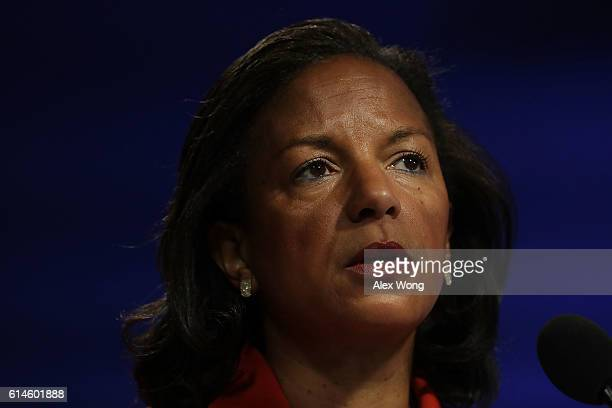 National Security Advisor Susan Rice participates in a discussion October 14 2016 at the Woodrow Wilson Center in Washington DC Rice discussed the...