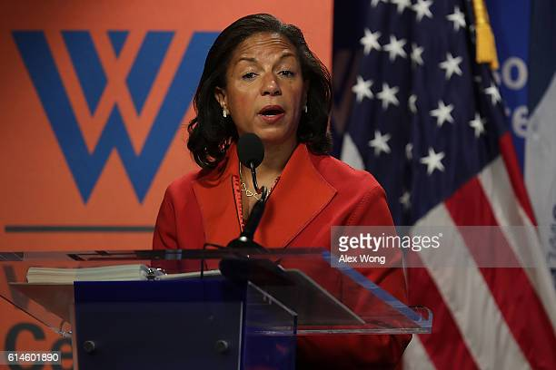 National Security Advisor Susan Rice participates in a discussion October 14, 2016 at the Woodrow Wilson Center in Washington, DC. Rice discussed the...