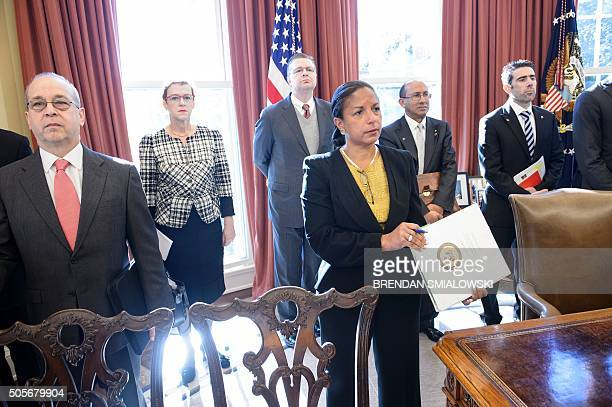 National Security Advisor Susan Rice waits with others while Australia Prime Minister Malcolm Turnbull and US President Barack Obama meet in the Oval...