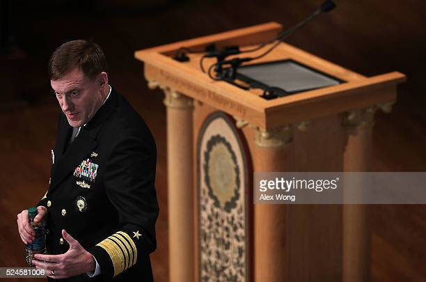 National Security Agency Director Adm. Michael Rogers, commander of U.S. Cyber Command, speaks on cyber security at Georgetown University on April...