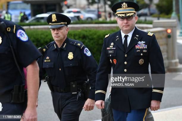 National Security Council Director for European Affairs Alexander Vindman arrives for a closeddoor deposition at the US Capitol in Washington DC on...