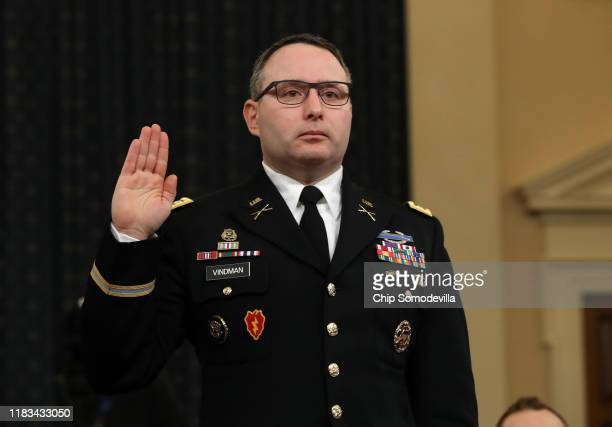 National Security Council Director for European Affairs Lt. Col. Alexander Vindman is sworn in to testify before the House Intelligence Committee in...