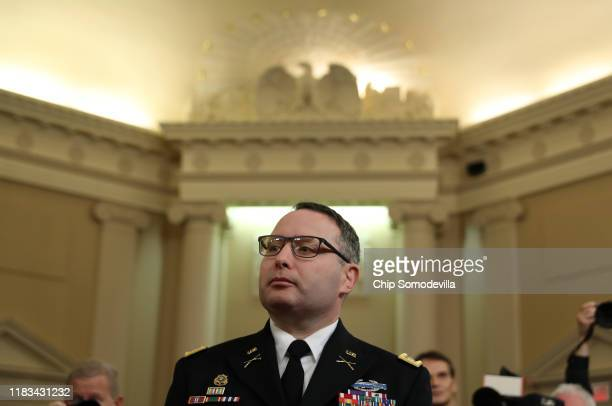 National Security Council Director for European Affairs Lt Col Alexander Vindman arrives to testify before the House Intelligence Committee in the...