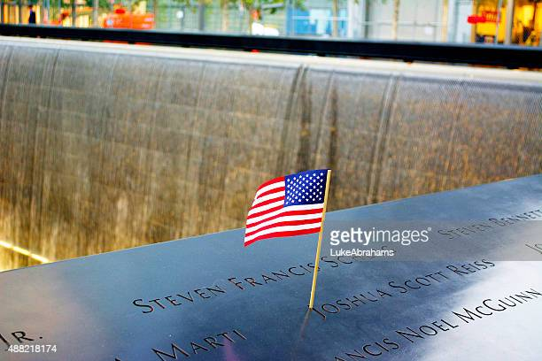 National September 11 Memorial with US Flag