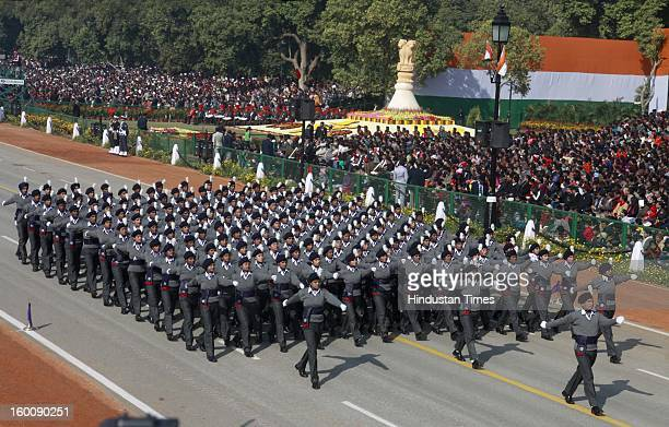 National Service scheme boys and girls marching contingent parade during the 64th Republic Day parade celebration at Raj path on January 26 2013 in...