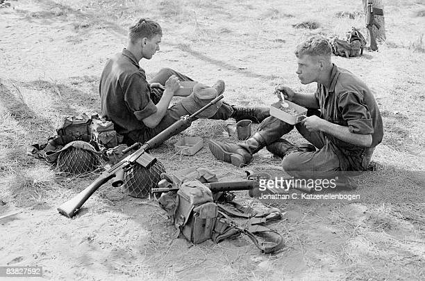 National Servicemen from A Company of the 7th Infantry Battalion of the South African Army at a meal break during basic training Middelberg South...