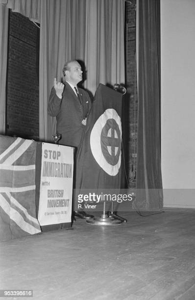 National socialist and NeoNazi politician Colin Jordan speaking at a conference in Coventry UK 29th October 1971