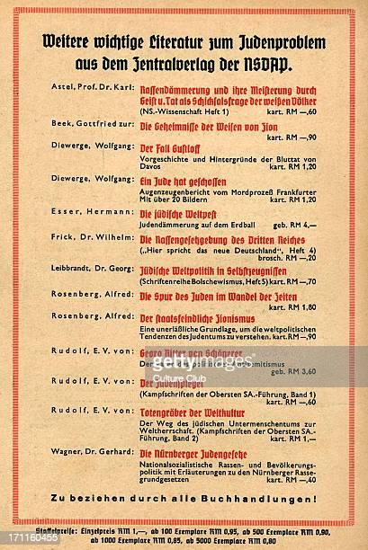 National Socialist literature on the 'Judenproblem' from the Zentral Verlag der NSDAP advertisement for pseudoscientific antisemitic literature on...