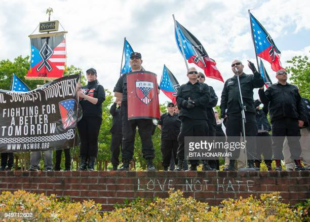 TOPSHOT National Socialist Movement leader Jeff Schoep speaks during a white nationalist rally in Newnan Georgia on April 21 2018 Only about 25 NSM...