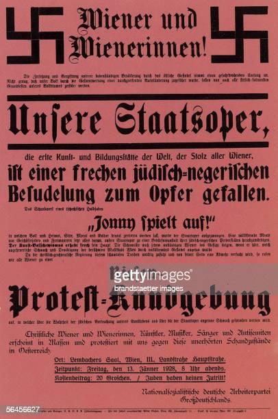 National Socialist protest poster against Ernst Krenek's opera 'Johnny spielt auf' Vienna 1928 [Plakat zu einer Protestkundgebung der...