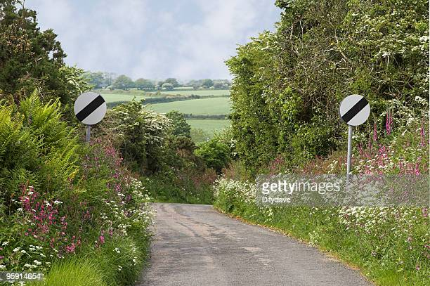 National Speed Limit Applies Signs In Country Lane