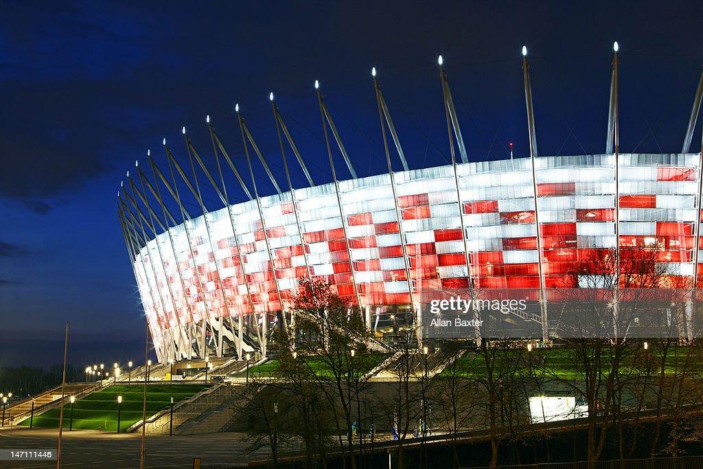 National Stadium illuminated at night : Stock Photo