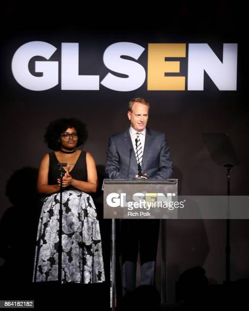 National Student Council member Imani Sims and honorary cochair Robert Greenblatt speak onstage during the 2017 GLSEN Respect Awards at the Beverly...