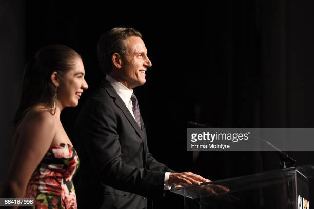 National Student Council members Em Gentry and Tony Goldwyn speak onstage during the 2017 GLSEN Respect Awards at the Beverly Wilshire Hotel on...