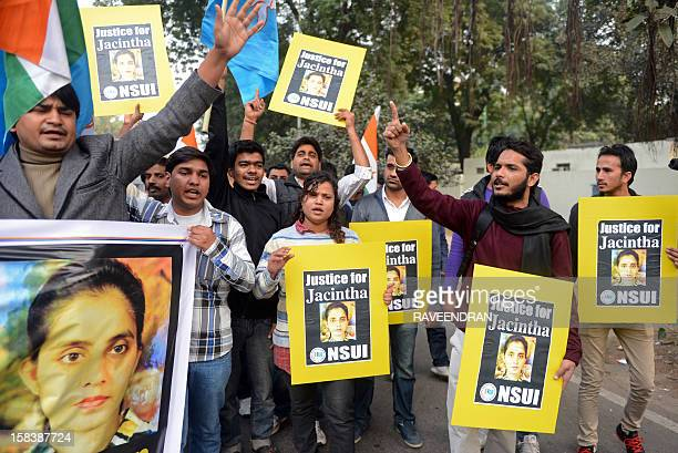 National Students Union of India activists shout slogans as they march to the British High Commission in support of Indianborn nurse Jacintha...