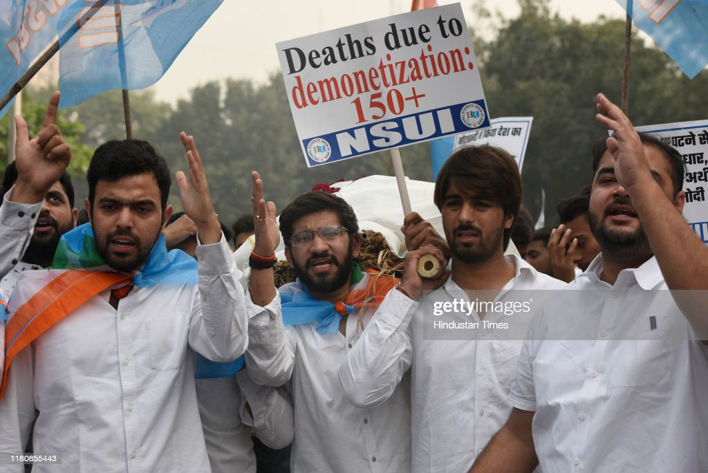 NSUI Members Protest Against Prime Minister Narendra Modi And Bharatiya Janata Party : News Photo