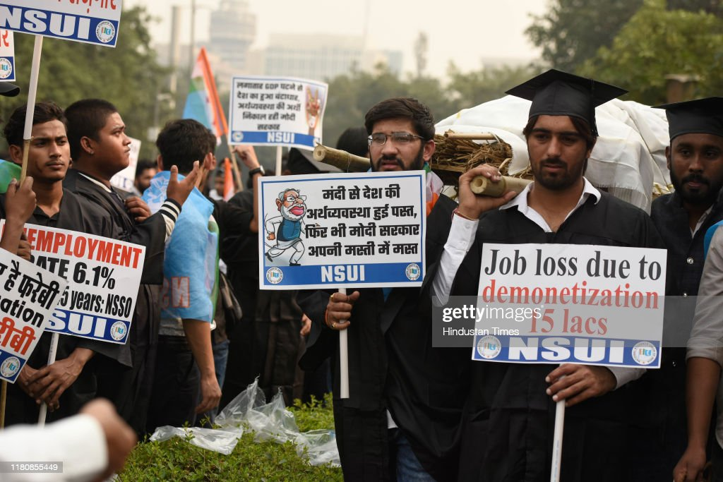 NSUI Members Protest Against Prime Minister Narendra Modi And Bharatiya Janata Party : News Photo