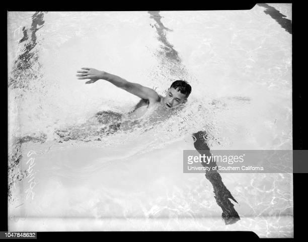 National Swim Meet entries, July 12 1955. Ford Konno;Yoshi Oyakawa;Paula Jean Myers;Sports.;Caption slip reads: 'Photographer: Jensen. Date: ....