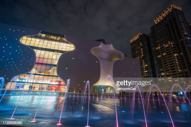 national taichung theater at night - national landmark stock pictures, royalty-free photos & images