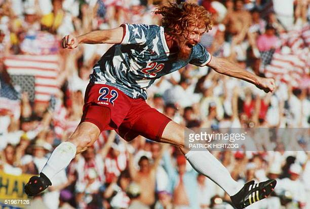 US national team defender Alexi Lalas jumps in the air 22 June 1994 as he celebrates after the US defeated Colombia in their World Cup match at the...