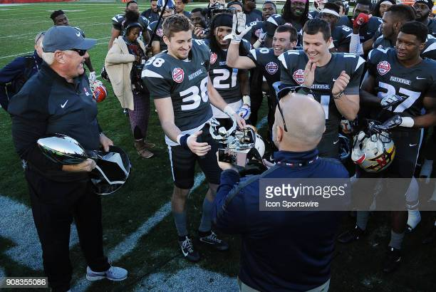 National Team defensive back Troy Apke from Penn State Nittany Lions receives the game MVP award after the National Team defeated the American Team...