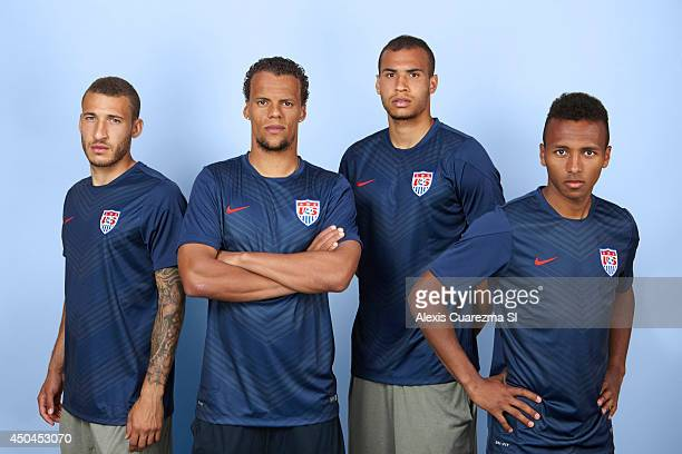 National team, Fabian Johnson, Timmy Chandler, Julian Green, and John Brooks are photographed for Sports Illustrated on May 24, 2014 in Palo Alto,...