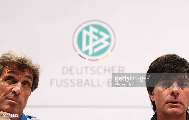 National Team head coach Rainer Adrion and National Team head coach Joachim Loew attend the German National Team press conference at Cologne's...