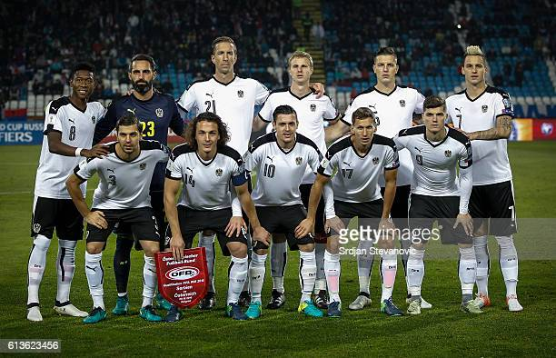 National team of Austria pose for the photo prior the FIFA 2018 World Cup Qualifier between Serbia and Austria at stadium Rajko Mitic on October 9...