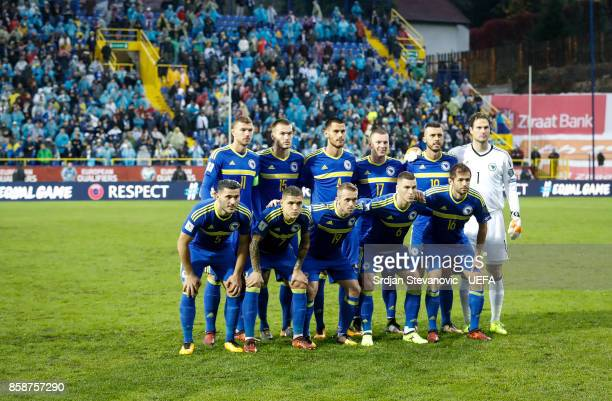 National team of Bosnia pose for the photographers during the FIFA 2018 World Cup Qualifier between Bosnia and Herzegovina and Belgium at stadium...