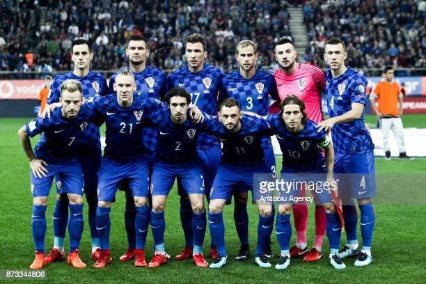 National Team of Croatia pose for a team photo ahead of the World Cup Russia 2018 European Qualifiers match between Greece and Croatia in Piraeus...