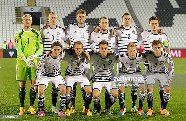 National team of Denmark poses from left Kasper Schmeichel Simon Kjaer Nicklas Bendtner Thomas Kahlenberg Andreas Bjelland and captain William Kvist...