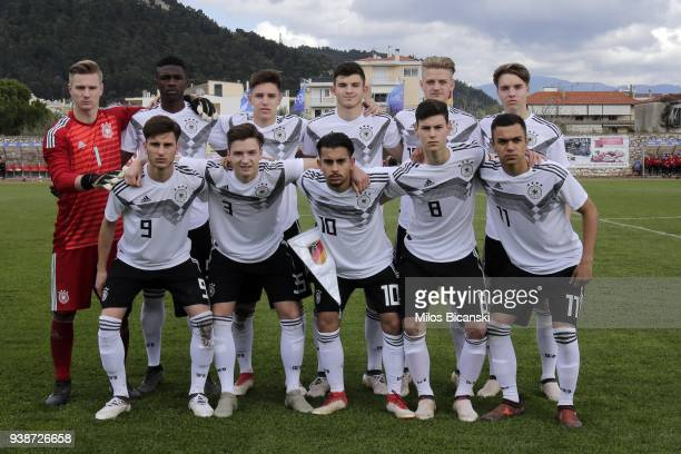 National team of Germany during the Germany vs Scotland U17 European Championship Elite round at Etniko Stadio Nafpaktou on March 27 2018 in...