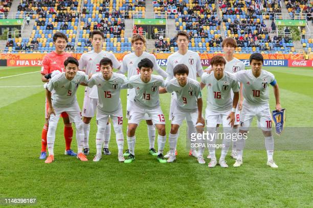 National team of Japan seen during group photo before the FIFA U-20 World Cup match between Mexico and Japan in Gdynia. .