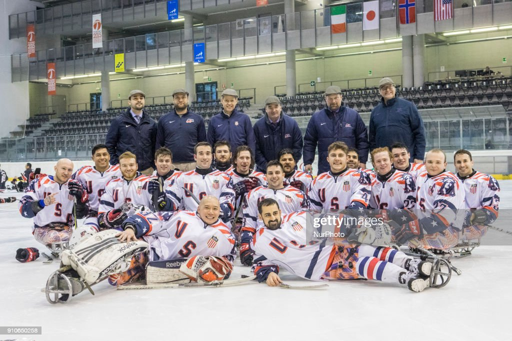USA national team of Para Ice Hockey pose after International Para Ice Hockey Tournament of Torino Semifinal match between USA and Japan in Turin, italy, on 26 Januray 2018. Usa team won 9 - 0. This is the last tournament before the Paralympic Games of Pyeongchang 2018 in Korea.
